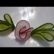 Украшения из овощей (делаем из огурца и редиса  завиток и цветок). Decoration of vegetables